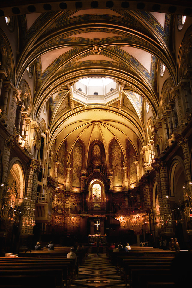 The interior of Santa Maria de Montserrat abbey in Catalunia, Spain.