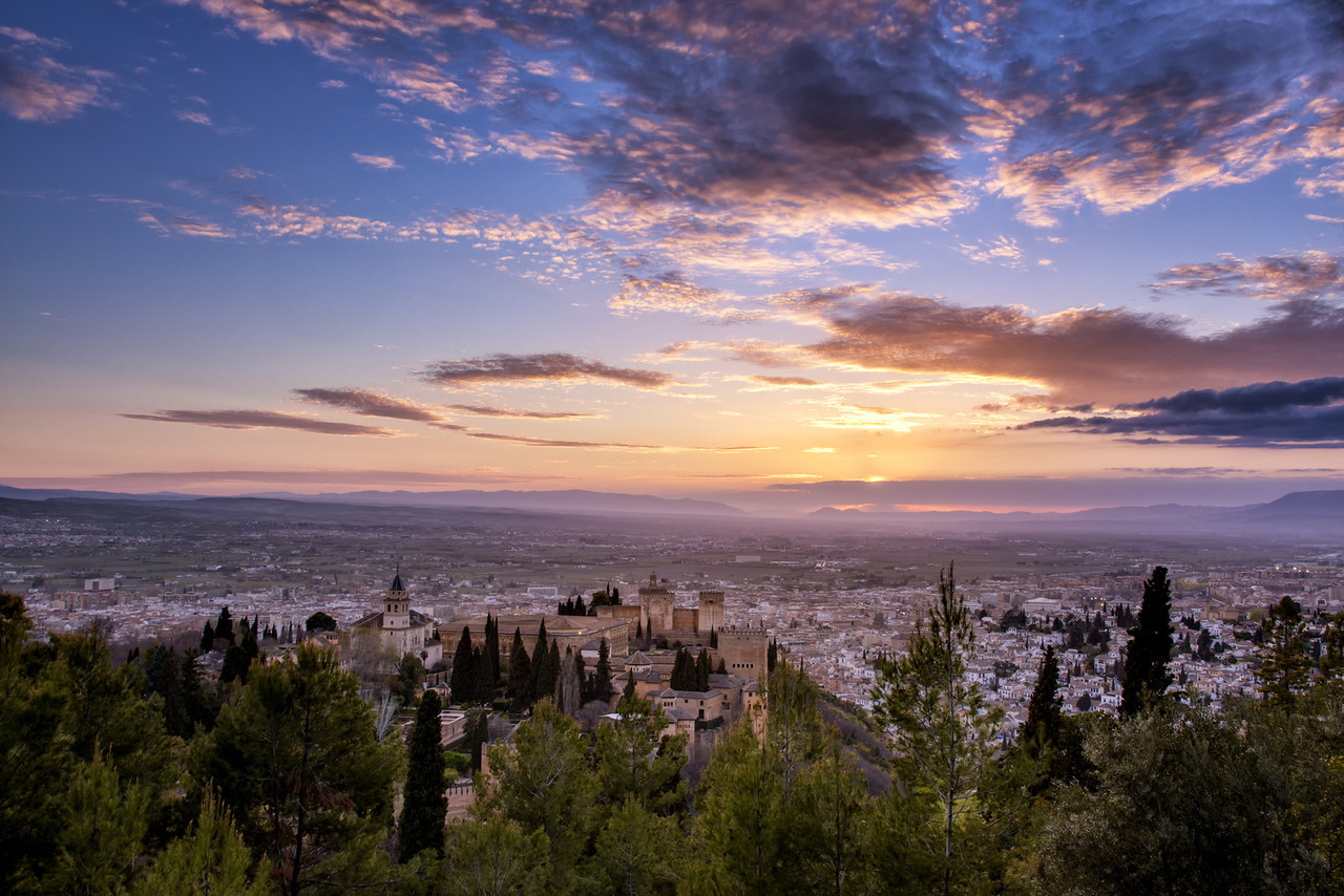 Alhambra and Granada Sunset - Spain