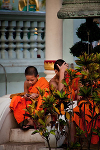 Young Monks with smartphones ~ Thailand
