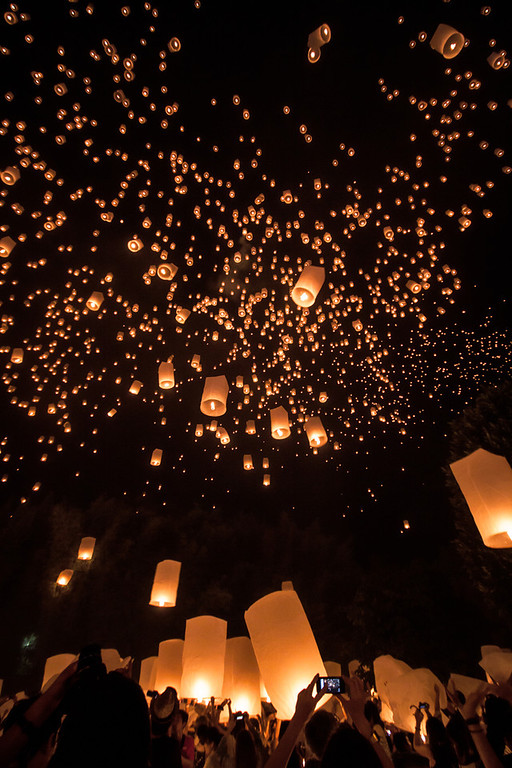Yi Peng lanterns in the sky in Chiang Mai, Thailand