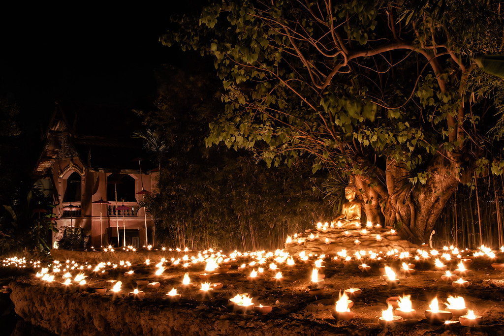 Makha Bucha night candles in Chiang Mai, Thailand.