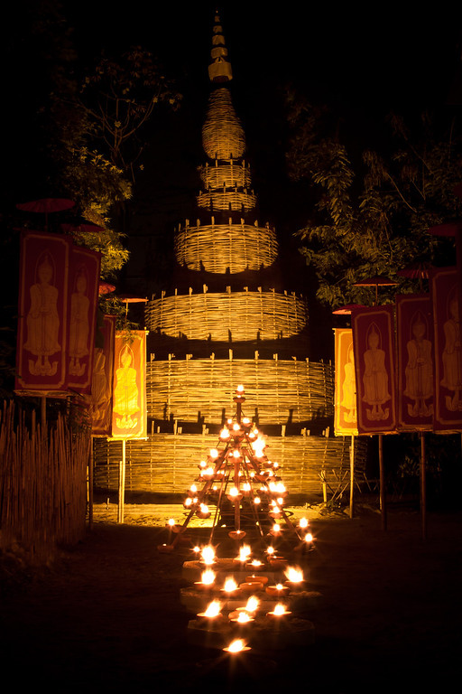 Makha Bucha celebration in Chiang Mai, Thailand.