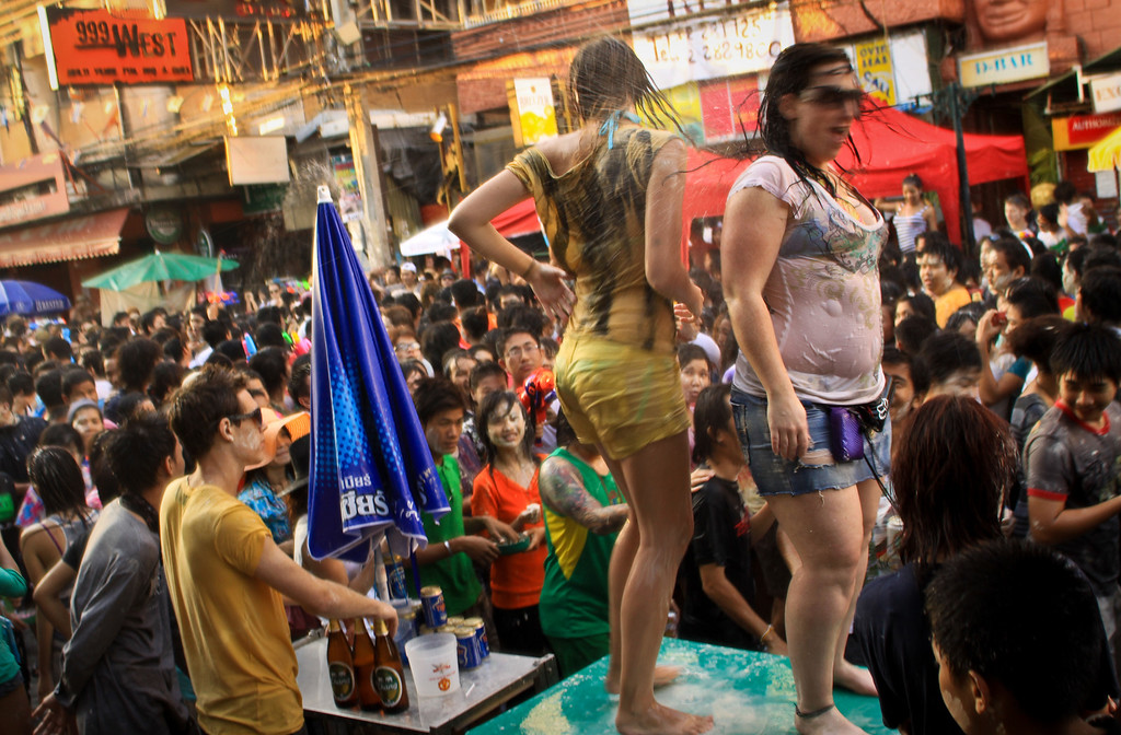 Party during Songkran on Khao San road in Bangkok.