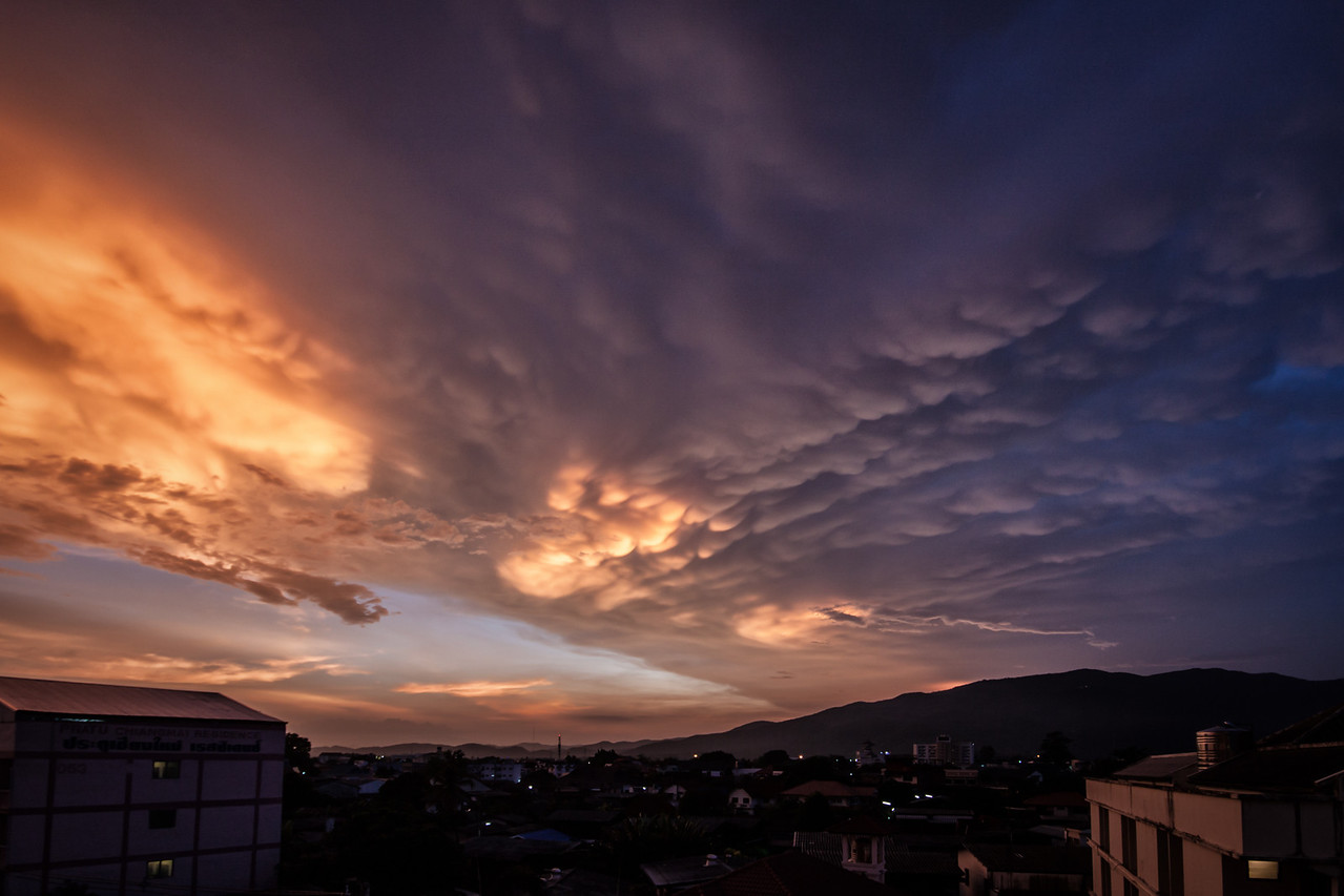 Cloud formation during sunset in Chiang Mai, Thailand