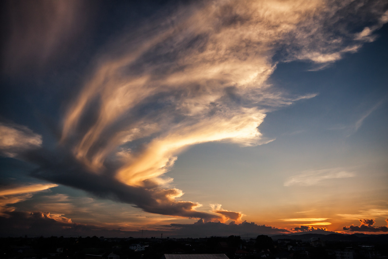 Beautiful cloud formations during sunset in Chiang Mai, Thailand