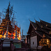 Wat Pan Tao temple and its chedi during the Blue Hour in Chiang Mai, Thailand.