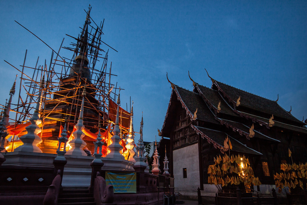 Wat Pan Tao and the chedi in Chiang Mai, Thailand.