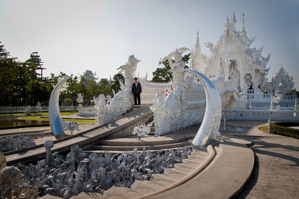 The White temple wat rong khun entrance in Chiang Rai, Thailand