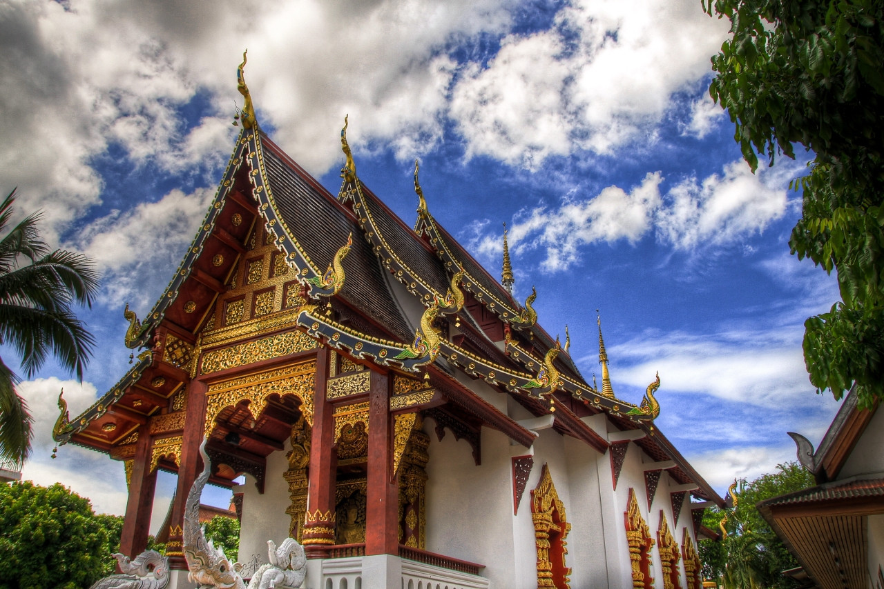 The Wat Chang Taem temple in Chiang Mai, Thailand in HDR.