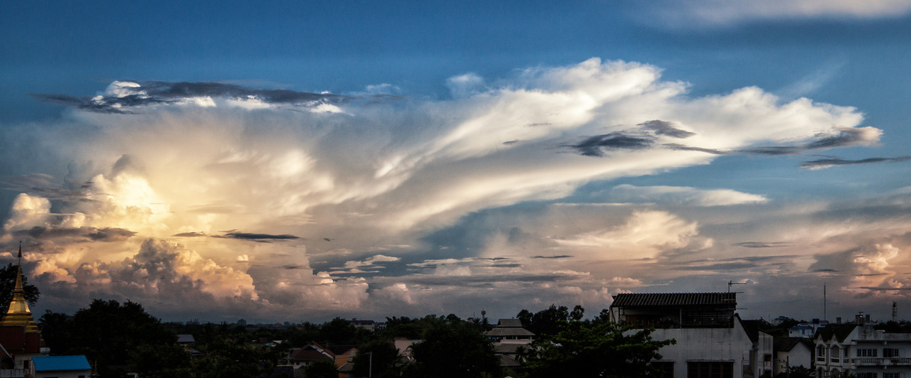 Looming storm clouds over Chiang Mai, Thailand.