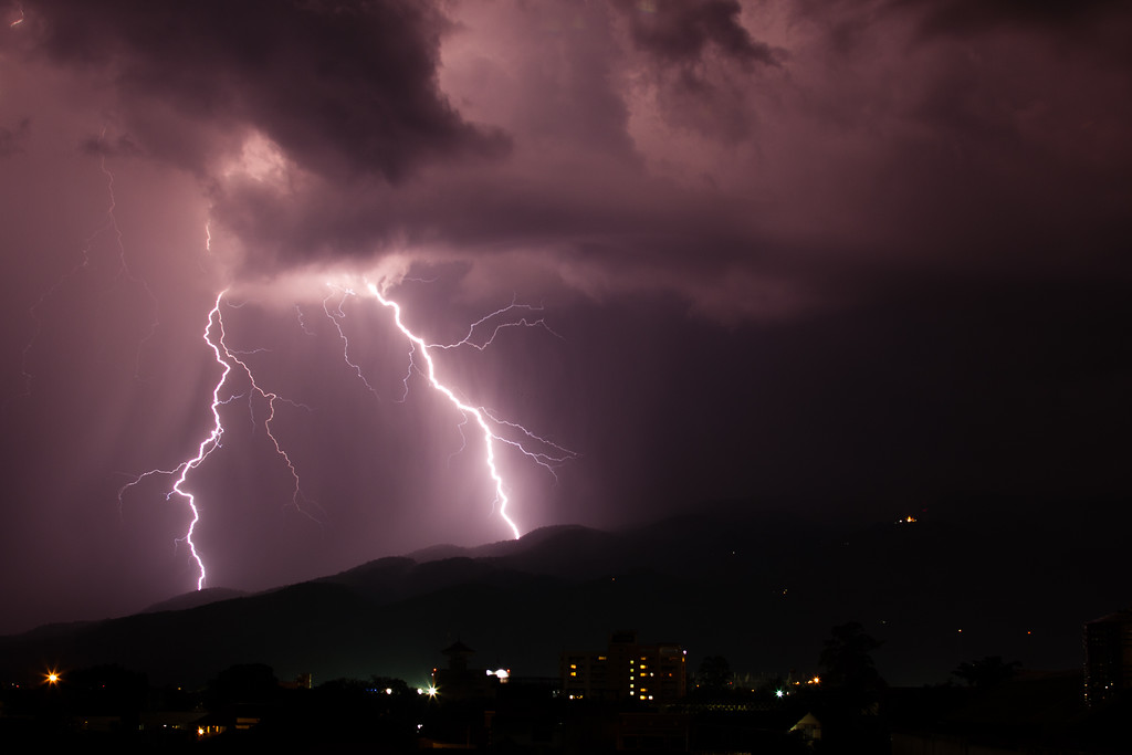 Thunder and lightning in the skies of Chiang Mai in Thailand.