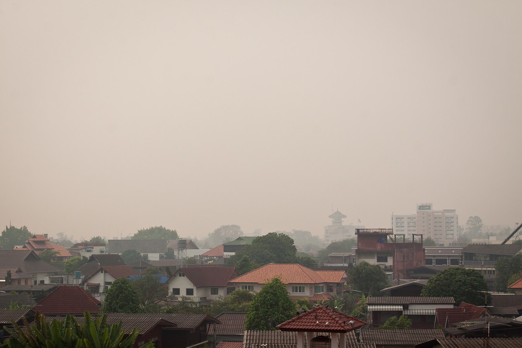 Smokey weather over the city of Chiang Mai, in Thailand.