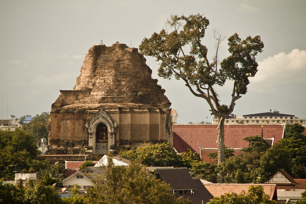 The ruined stupa of Wat Chedi Luang in the old city of Chiang Mai, Thailand.