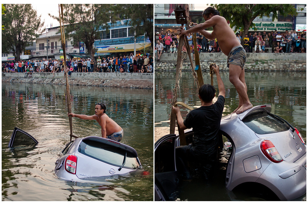A Car accident in the moat in Chiang Mai, Thailand.