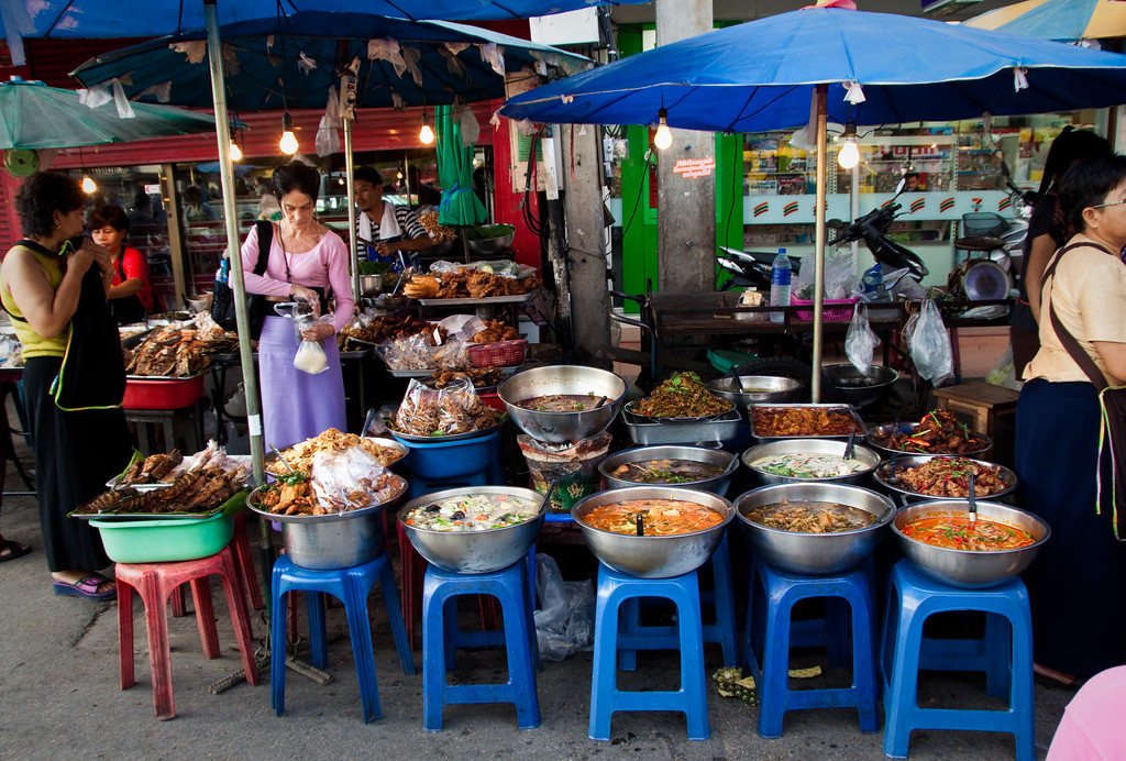 A street shot of street food stalls every evening at Chiang Mai Gate in Thailand