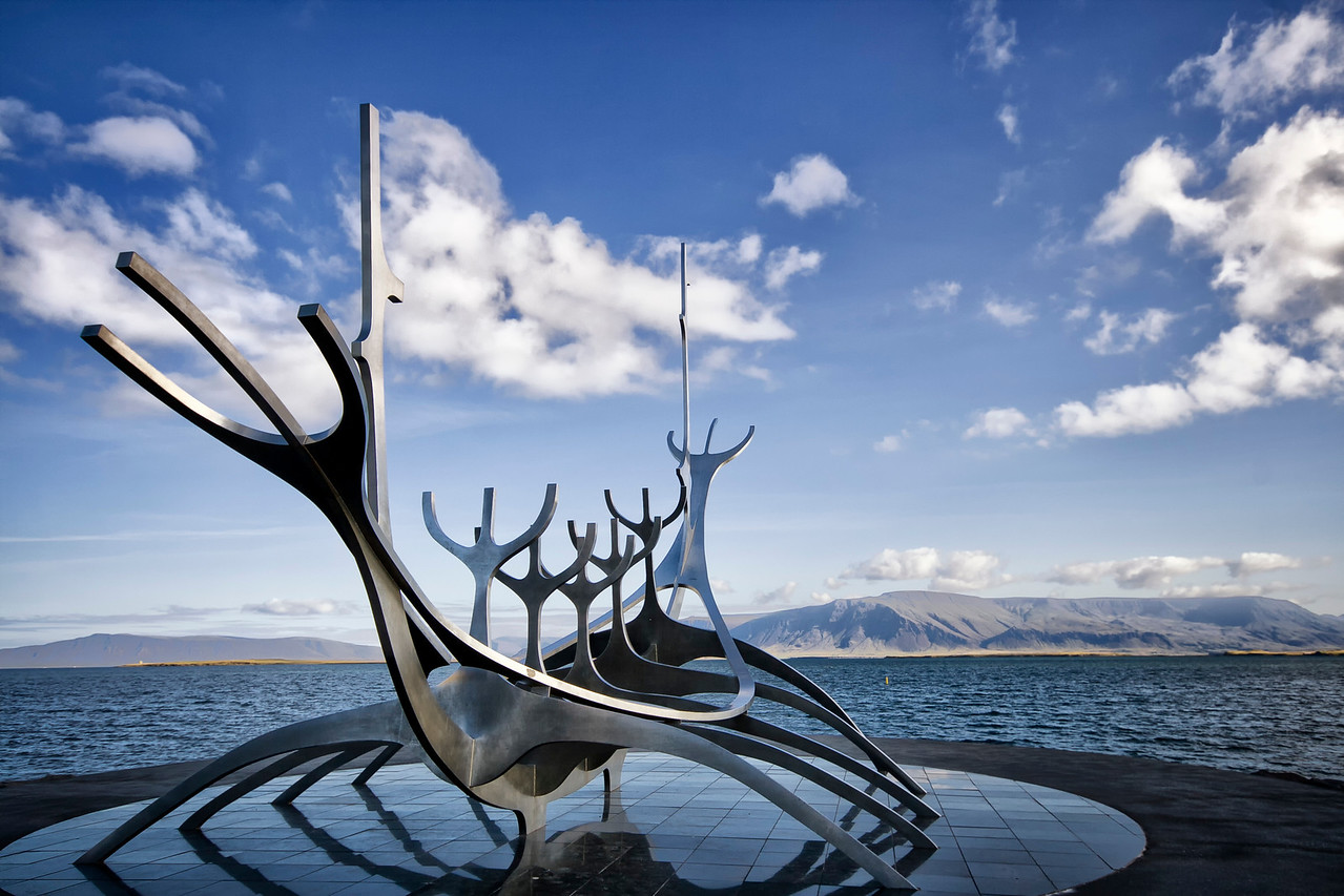 The Sun voyager, a stylish viking ship skeleton sculpture from Jon Gunnar Arnason on the harbor in Reykjavik, Iceland