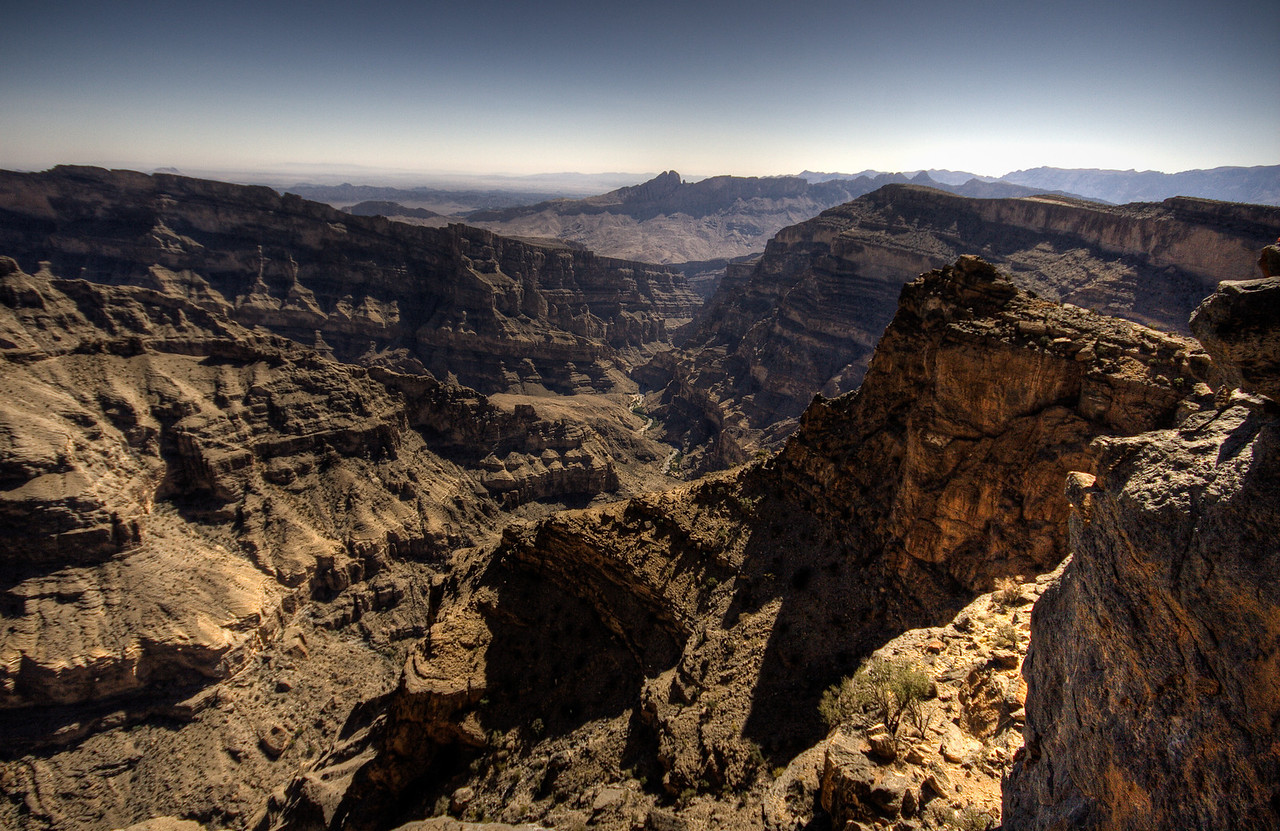 The Wadi Nakhr Canyon, the biggest canyon in the Arabian Gulf in the Sultanate of Oman.