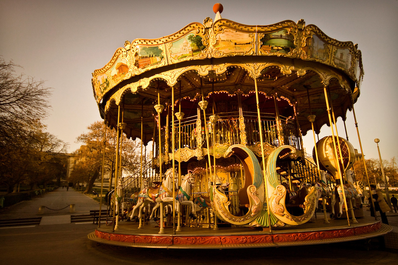 A French Carousel in front of the Tour Eiffel in Paris, France