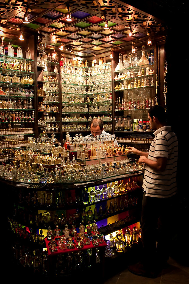 An Arabian perfume shop in a local souk in Dubai, UAE.