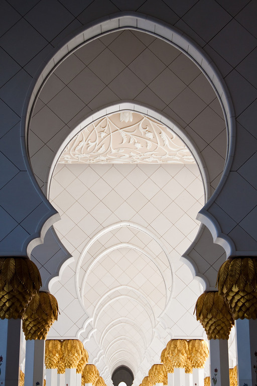 Details of the arches in Sheikh Zayed Mosque in Abu Dhabi, UAE