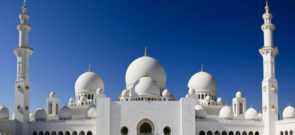 A panorama of the Sheikh Zayed Mosque in Abu Dhabi, UAE