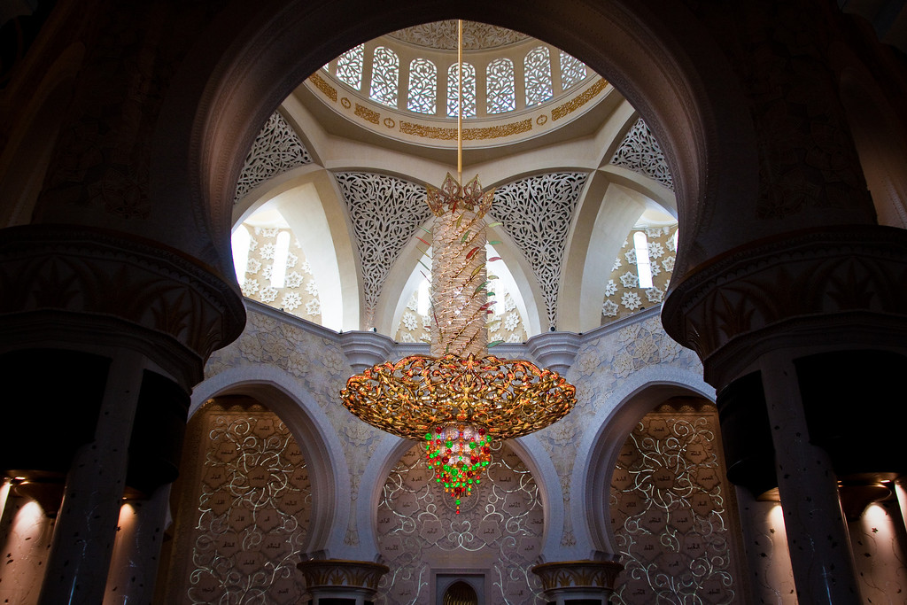 The interior of the prayer room in Sheikh Zayed Mosque in Abu Dhabi, UAE