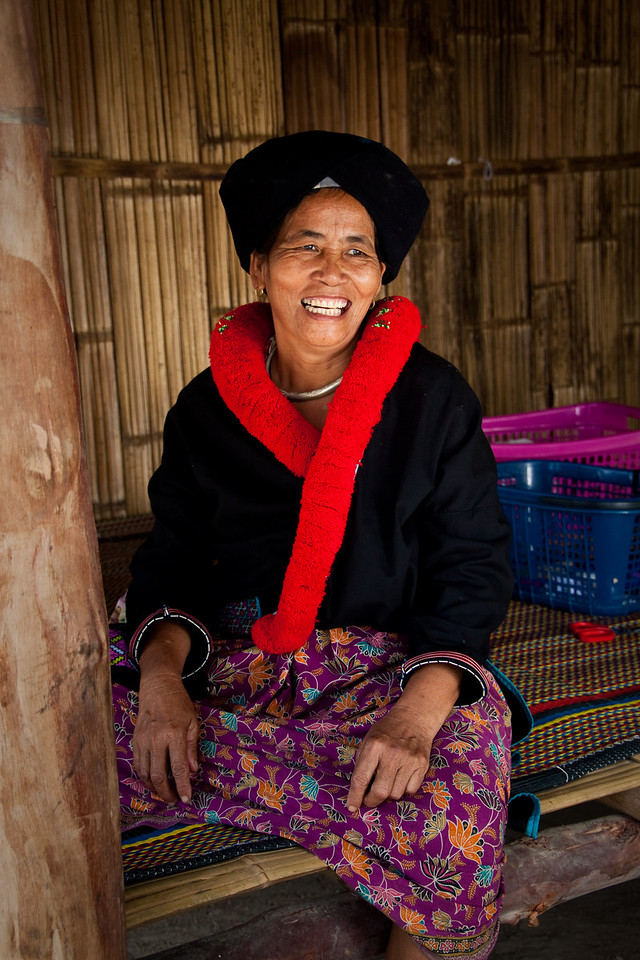 A lady from the Hmong hill tribe near Chiang Mai smiling at the camera, Thailand.