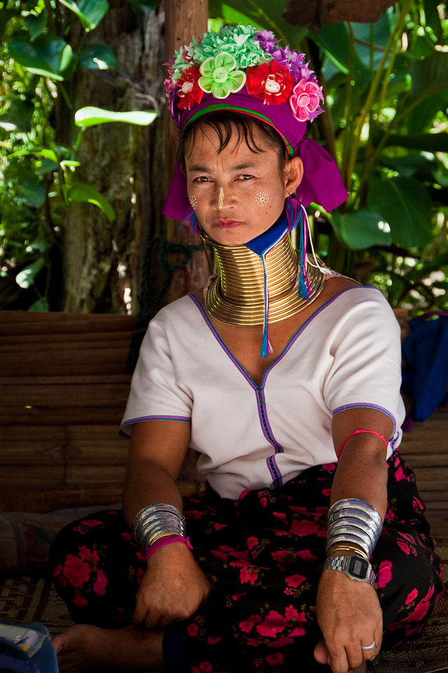 A portrait of a stoic Kayan Hill Tribe Long Neck lady near Chiang Mai, North of Thailand.
