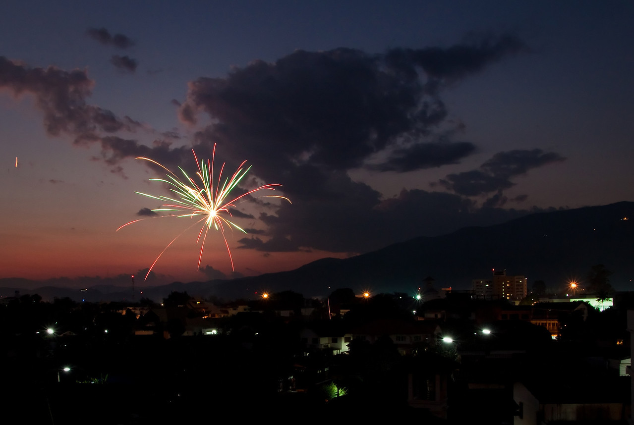 Fireworks in Chiang Mai in front of Doi Suthep during Loy Krathong 2010 in Thailand