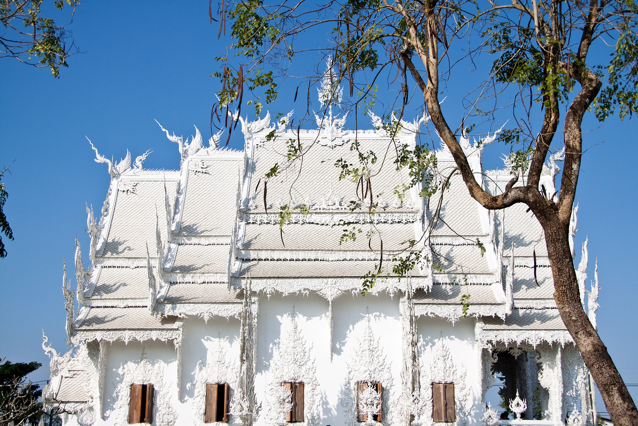 The White Temple shot from the side in Chiang Rai, Thailand