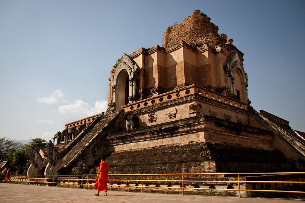 The Stupa behind Wat Chedi Luang temple in Chiang Mai, Thailand.
