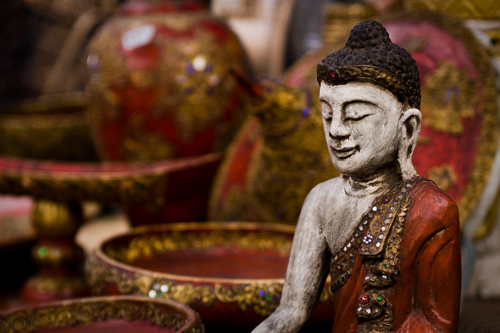 A Buddha statuette for sale in the Walking Street Market in Chiang Mai, Thailand