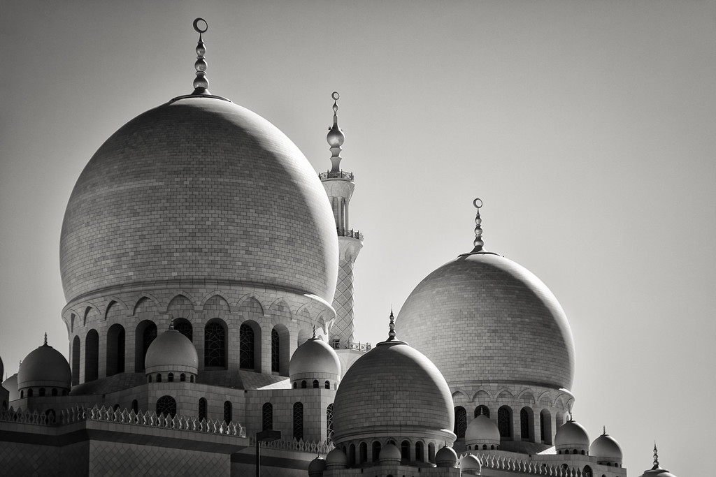 The Sheikh Zayed Grand Mosque in Monochrome - UAE