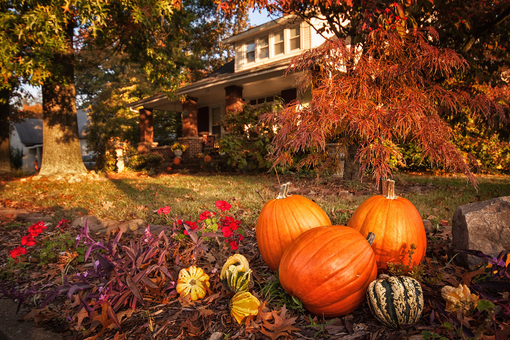 A house in Kentucky decorated with pumpkins during Fall.